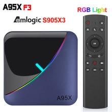 A95X F3 RGB אור טלוויזיה תיבת אנדרואיד 9.0 Amlogic S905X3 4G 32G 64G 2.4G/5G Wifi BT ממיר YouTube 1080P 4K 2G 16G מדיה נגן