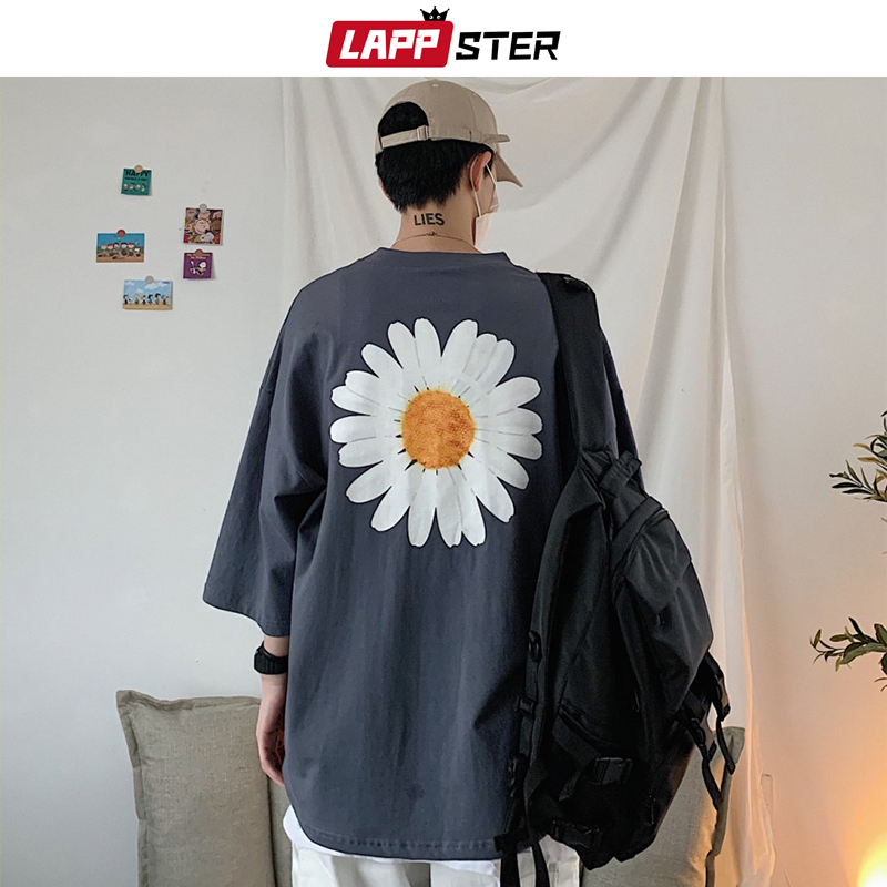 LAPPSTER Men Harajuku Flower Print T Shirts 2020 Summer Men Hip Hop Oversized Korean Fashions T Shirt Male Spring Casual Top Tee