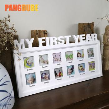 Dziecko pierwszy rok ramka na zdjęcia mój pierwszy rok dziecko ramka na prezent dla dziecka Bebe wspomnienia 12 miesięcy pamiątki prezent #8222 mój pierwszy rok #8221 tanie i dobre opinie Baby Photo Frame 42cmx21cm 0-3 M 4-6 M 7-9 M 10-12 M 13-18 M 19-24 M