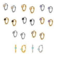 5 cor 925 prata esterlina turquesa/lavanda/preto/branco/champagne zircão pequenos brincos de argola para brincos de prata de ouro feminino