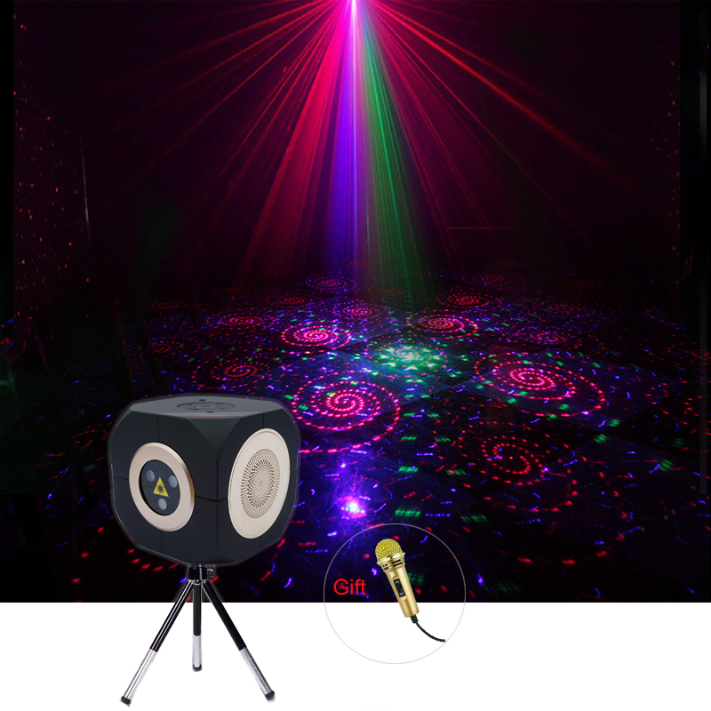Sharelife Multifunction Mini RGB Laser Gobos Light Bluetooth TF Speakers Music Box KTV Home DJ Party Laser Stage Lighting DP8