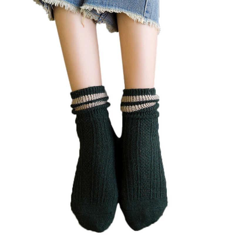 Nuevos calcetines de lana gruesa Retro de marca de mujer de diseño de rayas para botas verde amarillo Azul Rojo mujer Calcetines