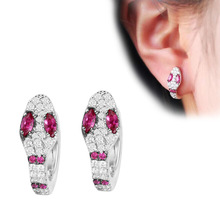 Korean snake ear buckle inlaid  crystal earrings creative silver stud