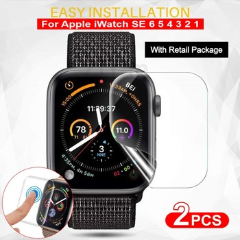 2Pcs Screen Protector For Apple Watch 6 SE 5 4 40MM 44MM Clear Full Protective Film Not Glass For iWatch Series 3 2 1 38MM 42MM 10pcs lot oca optical clear adhesive film sticker glue for apple watch 38mm 40mm 42mm 44mm series 1 2 3 4