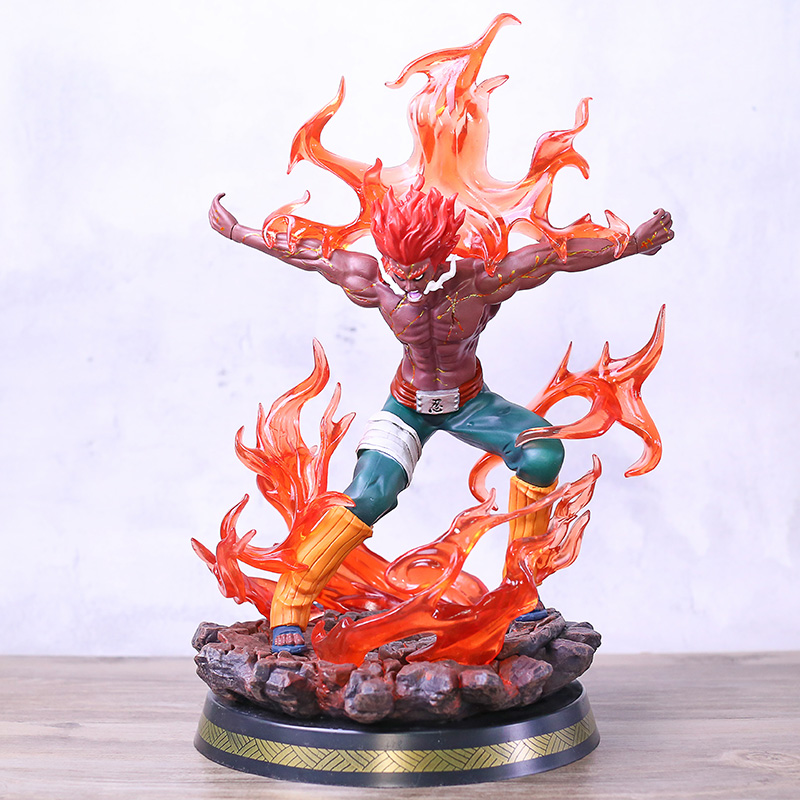 Naruto shippuden pode guy oito portões forma vol.2 estátua figura pvc modelo de brinquedo com luz led