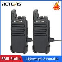 מכשיר הקשר 2pcs מיני מכשיר הקשר Retevis RT22 2W UHF 400-480MHz 16CH CTCSS / DCS TOT VOX סריקה לְהִשְׁתַכְשֵׁך שני הדרך רדיו Communicator A9121A (1)