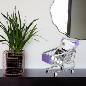 Baby Toy Supermarket Hand Trolley Mini Shopping Cart Desktop Decoration Storage Toy Gift Dollhouse Furniture Accessories
