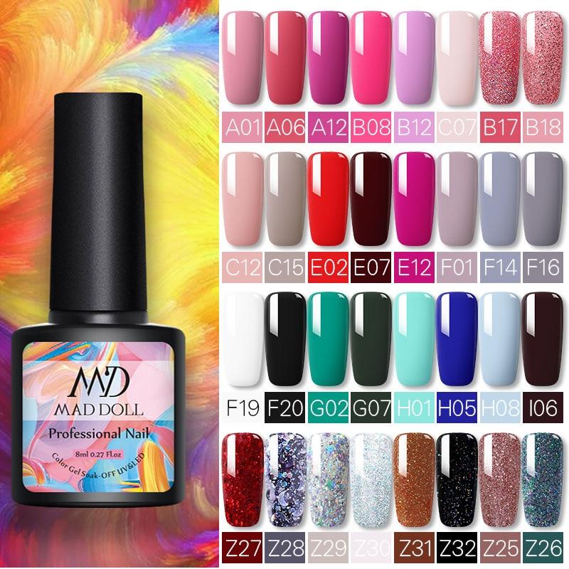 MD DOLL 8ml Sparkling Glitter Nail Gel Polish Shinning Sequins UV LED Painting Gel Varnish  Varnish For