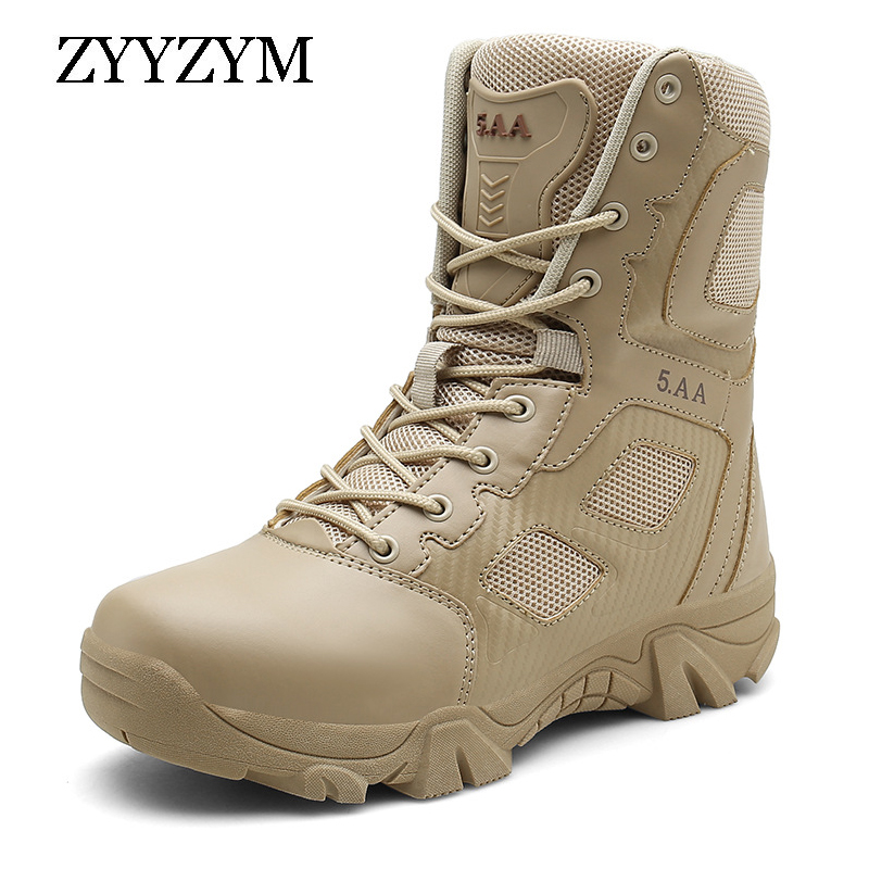 ZYYZYM Men Boots Autumn Winter Brand Military Leather Boots Men Special Force Tactical Desert Combat Outdoor Shoes Work Boots