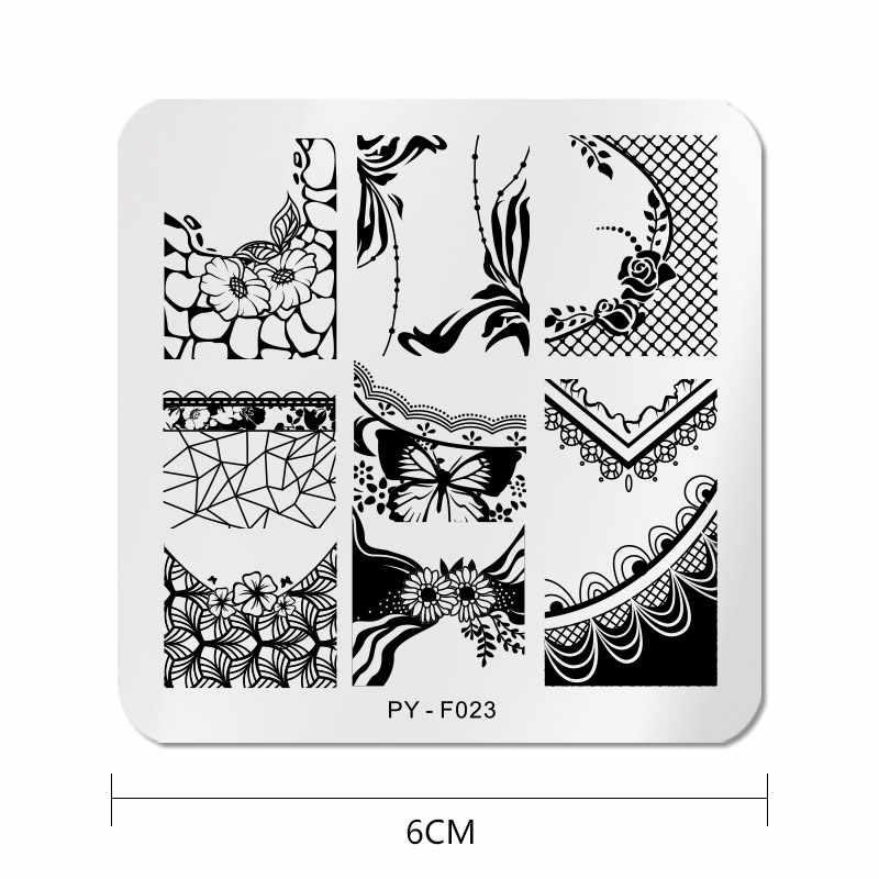PICT คุณสแควร์ลูกไม้ Series แผ่นปั๊มเล็บ Stencil สแตนเลสสตีลเครื่องมือ Nail Art STAMP Design สำหรับ DIY ภาพ