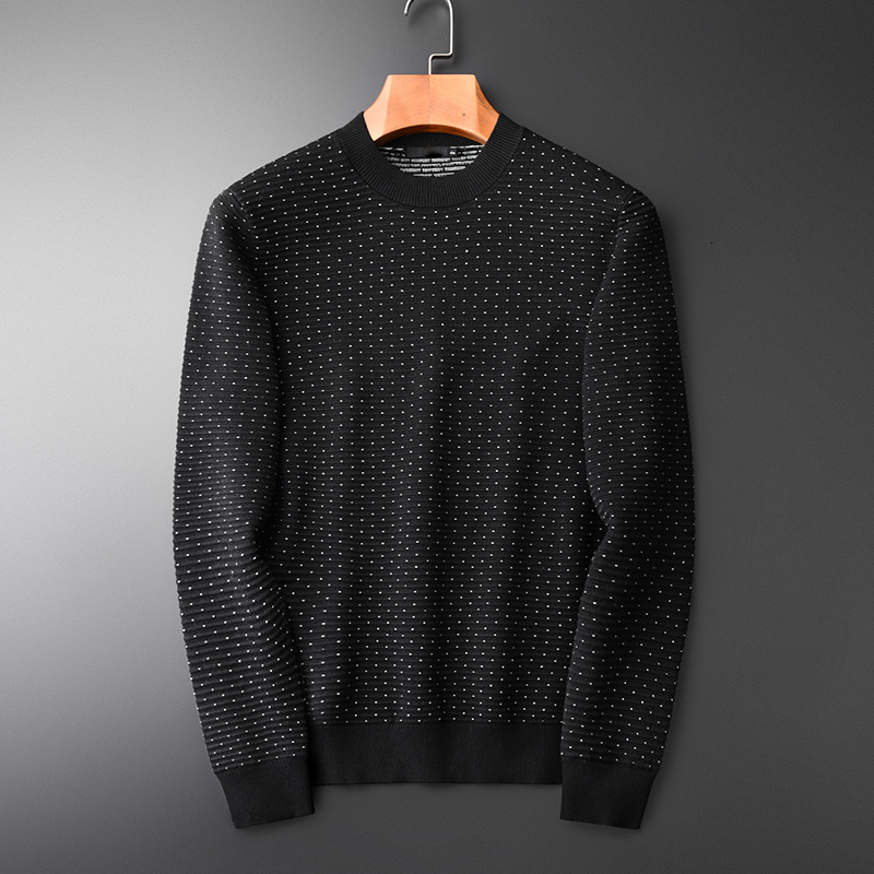 Sweater Men Hight Quality White Dot Round Neck Pullover Sweater Fashion New Autumn And Winter Slim Fit Sweater Male