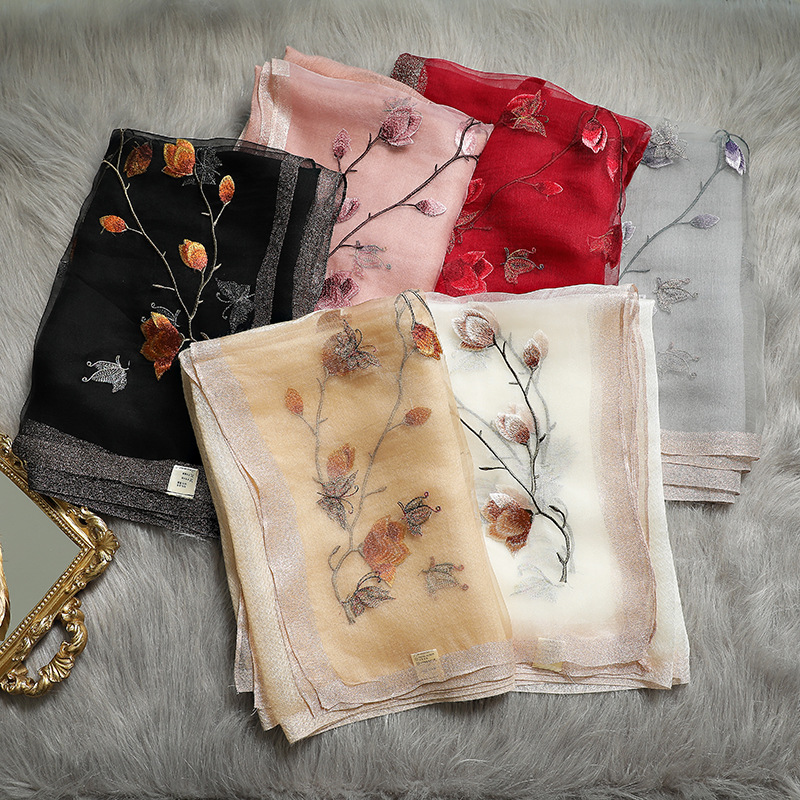 Hot Sale Floral Embroidery Real Silk Wool Scarf For Women Winter Scarves Shawls Hijab Wraps Pashmina Bandana Foulard Wholesale