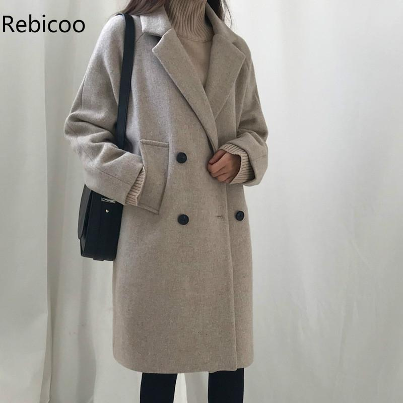 Double Breasted Female Outwears Thick Long Trench Coat Women Autumn Loose Jackets Elegant OL Black Blazer