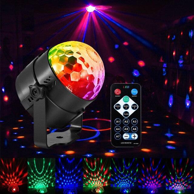 קול הופעל מסיבת אורות עם שלט רחוק Dj תאורה, RBG דיסקו כדור אור, strobe מנורת 7 מצבים שלב Par אור לבית