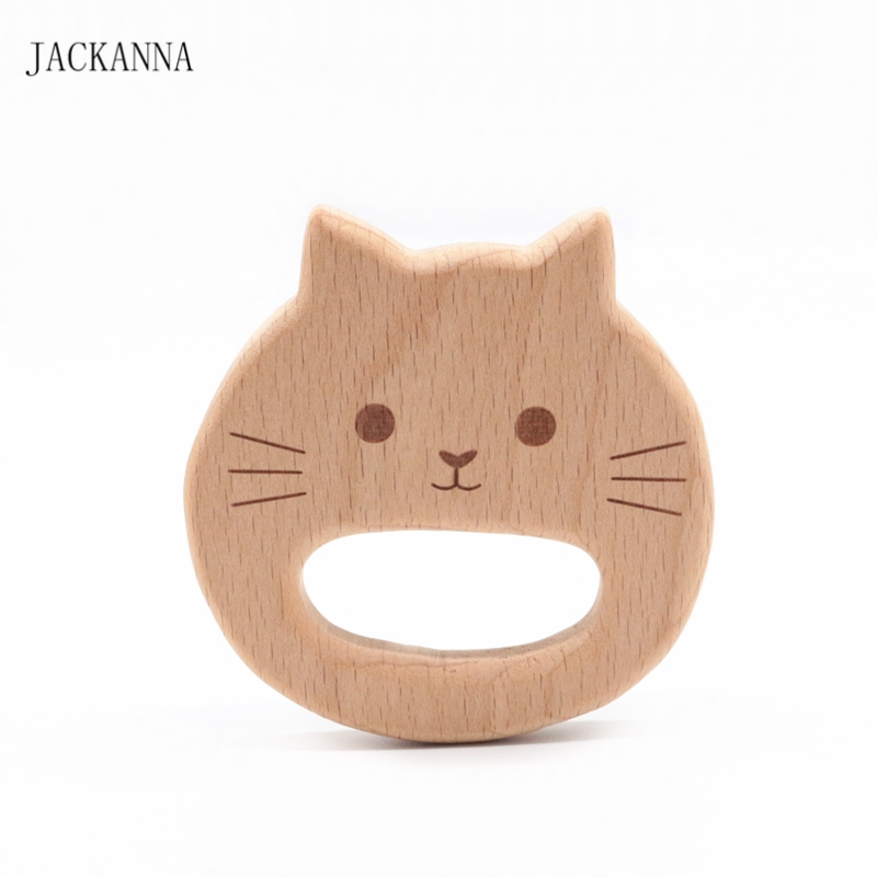Cartoon Cat Wood Teether BPA Free Chew Toys DIY Handmade Teething Accessories Organic Baby Toy Beech Wood Animal Baby Teether