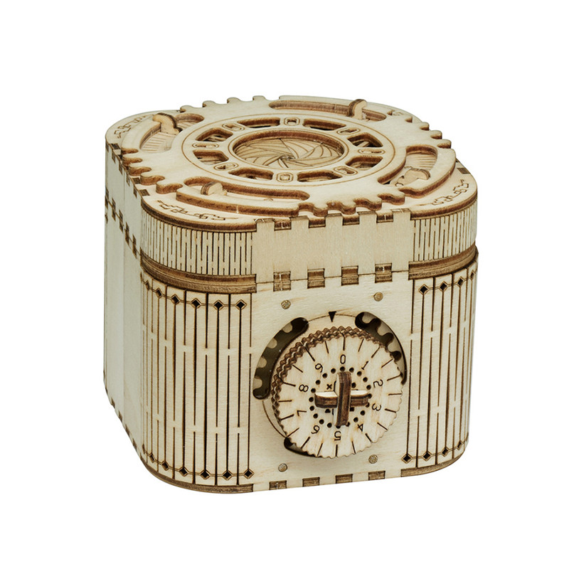 DIY Manual Self-assembly Password Music Box Wooden Creative 3D Treasure Box Puzzle Assembly Toy Gift For Children Teens Adult