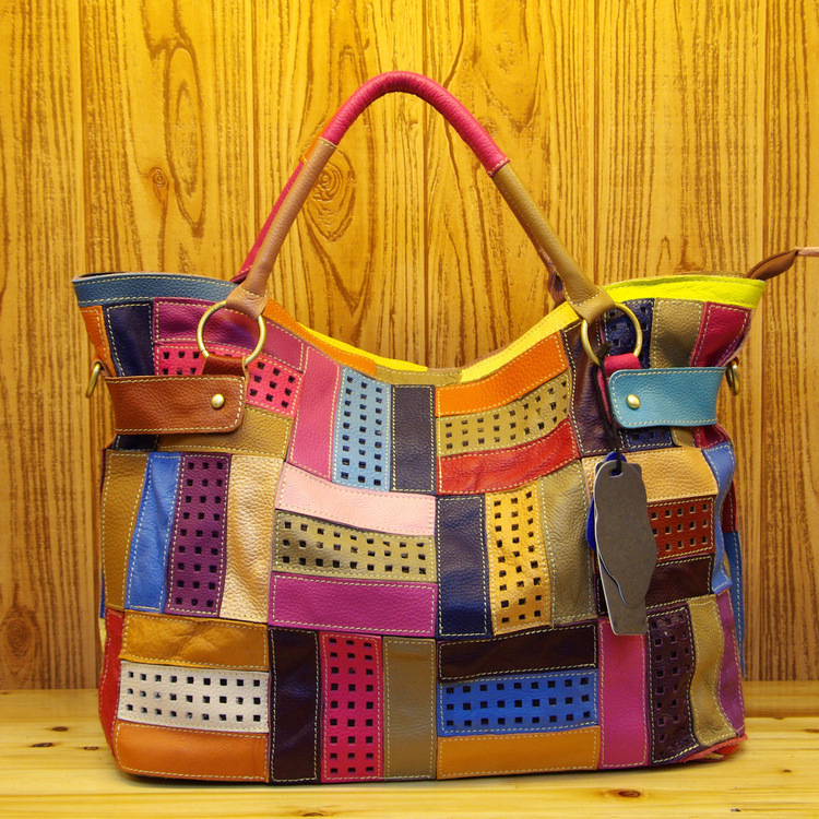 High Quality Leather Ladies Casual Colorful Patchwork Design Handbag Random Stitching Shoulder Bag Female Tote Bag 355