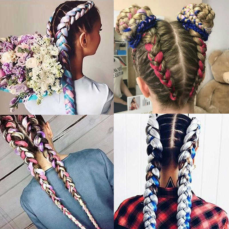 24 дюйма длинные, радужной расцветки синтетические косички, волосы, огромные косички, на крючках, желтый розового и фиолетового цветов серый наращивание волос свободный пинцет
