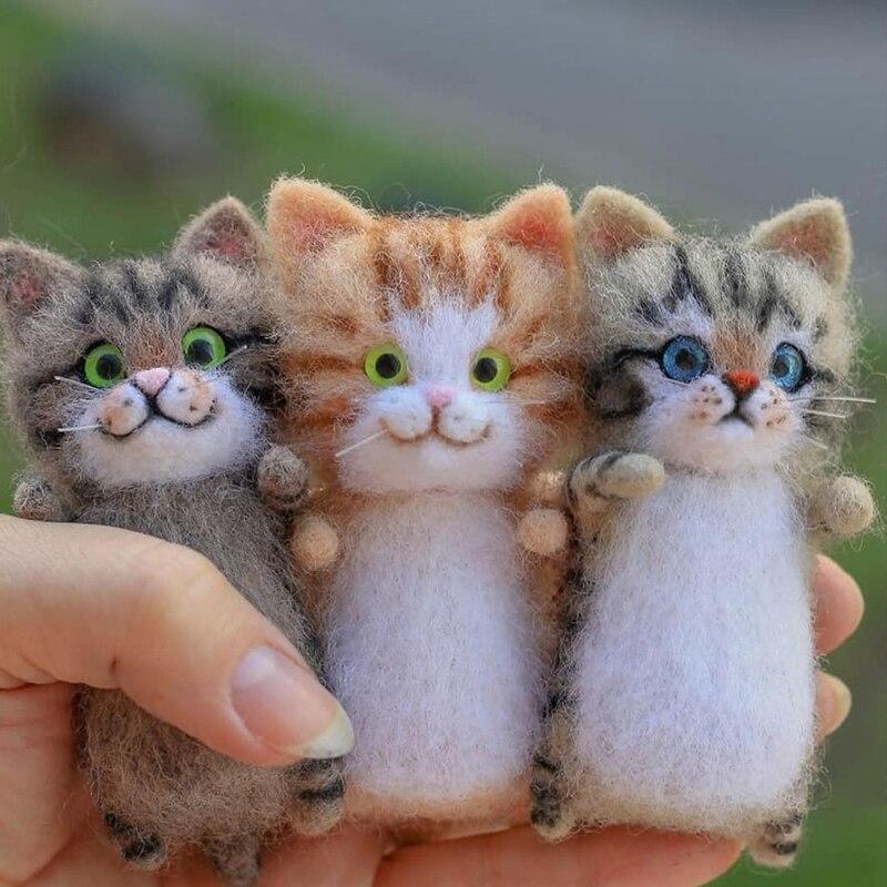 «Сделай сам» из шерстяного фетра наборы кошка незавершенной плюшевая кукла, музыкальная игрушка в подарок, не готовой продукции милые и инт...