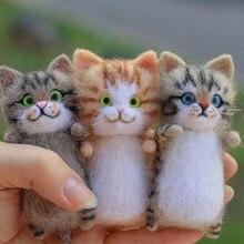 DIY wełniane filcowe zestawy kotów niedokończone pluszowa lalka Poking muzyczna zabawka prezent niewykończony produkt śliczne i ciekawe ręcznie robione zabawki