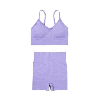 4PCS Seamles Sport Set Women Purple Two 2 Piece Crop Top T-shirt Bra Legging Sportsuit Workout Outfit Fitness Wear Yoga Gym Sets 9