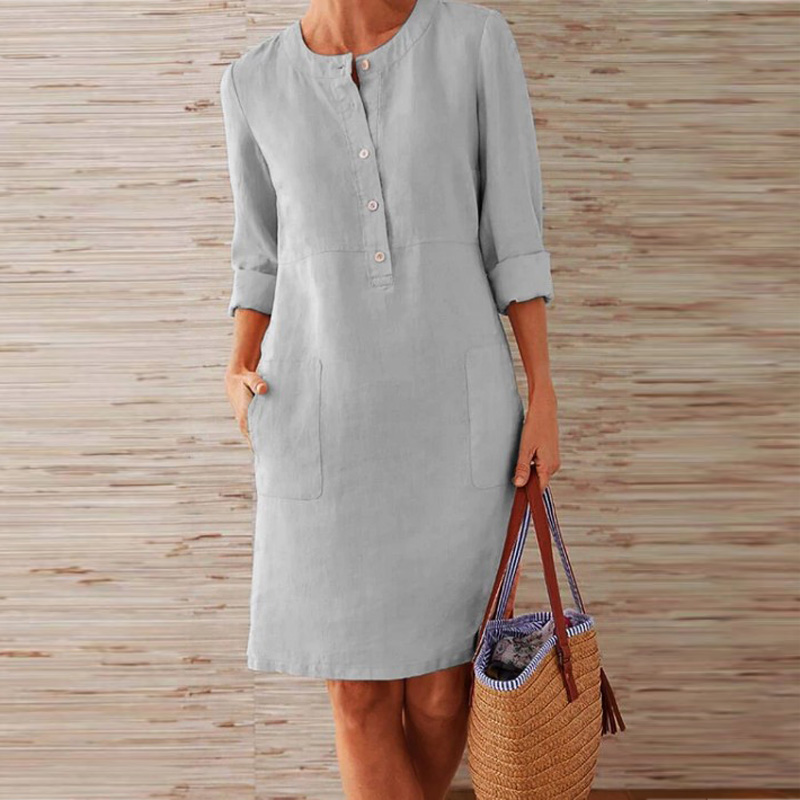 CAIDA Spring Cotton Linen Dress Fashion Button O-Neck Knee Party Dress Women Long Sleeve Pocket Solid Dresses 5