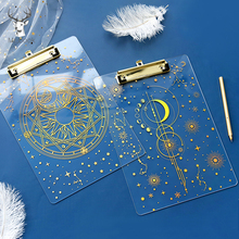 Clip Folder Board Document Transparent Stationery Writing A4 Laser Starry Bronzing Student