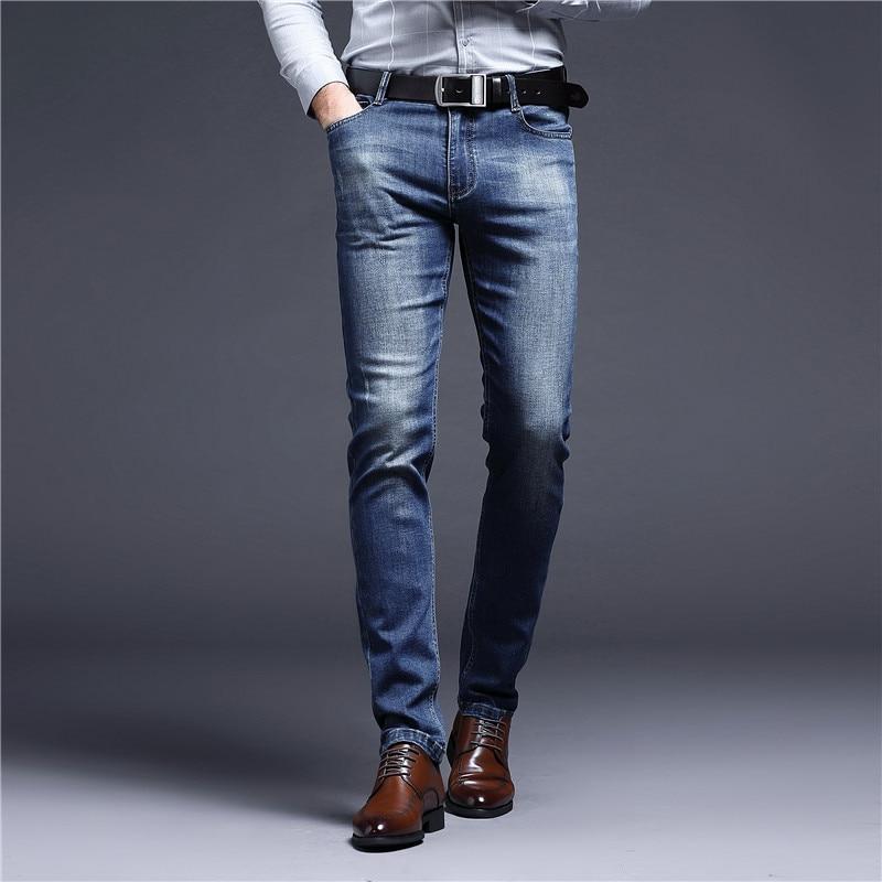 Male Jeans Men Thick Slim Fit Men's Long Denim Pants Autumn Winter Trends Stonewashed Casual Mens Jeans Pants Cotton Black Gray