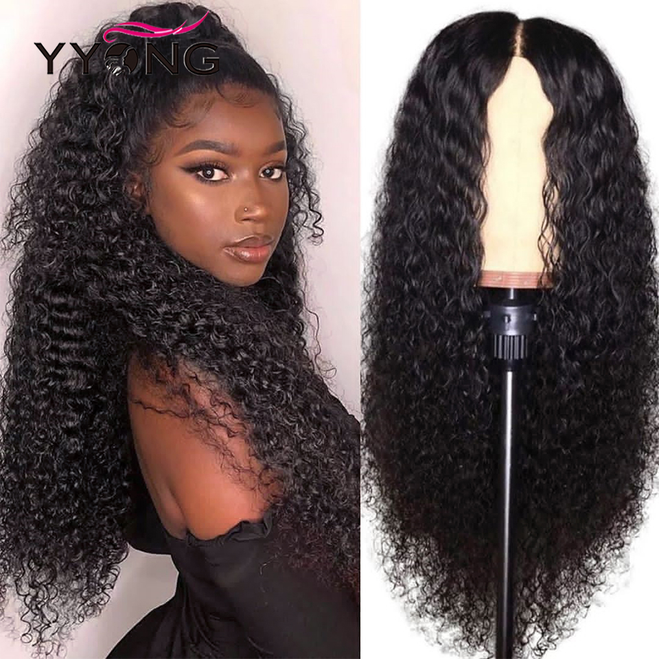 YYONG Kinky Curly Wigs 13x6 Lace Frontal Wig Malaysian Human Hair Curly Wigs 150% Density Remy Hair Pre-Plucked Lace Front Wig