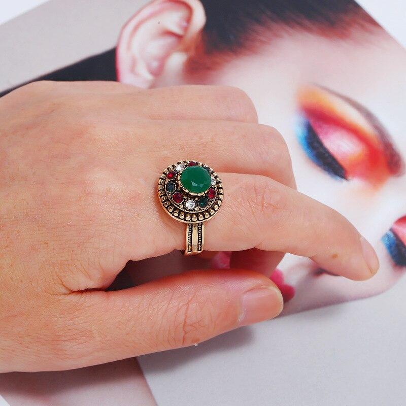 Bijoux populaires haut de gamme moyen-orient mode anneau creux turquoise index bague