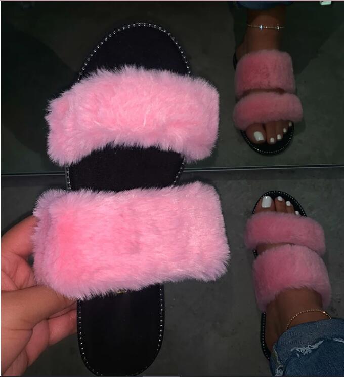 Women Fur Sandals Home Outdoor Silppers