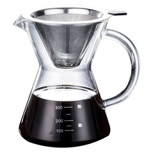400Ml Pour Over Coffee Maker Drip Thicken Glass Container Hand Percolators Stainless Steel Coffee Filter Home Drinkwares(China)