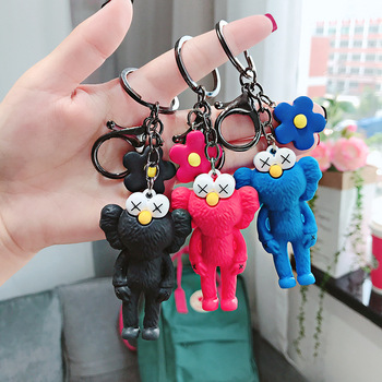 Fashion Cartoon Epoxy Sesame Street Keychain Cute Flower Key Chain Doll Creative Women Men Bag Pendant Key Ring Jewelry Gift