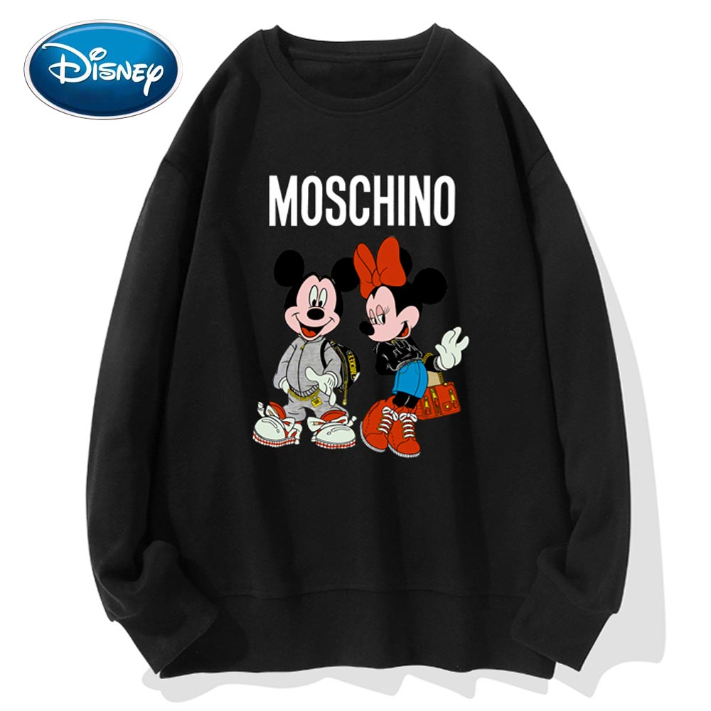 Disney Stylish Mickey Minnie Mouse Cartoon Letter Print O-Neck Pullover Unisex T-Shirt Long Sleeve  Loose Tops S - 3XL 9 Colors