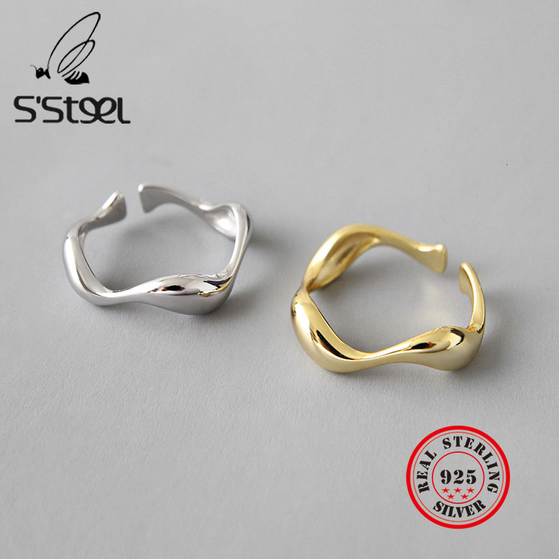 925 Sterling Silver Ring Ins Minimalist Irregular Wave Rings For Women Resizable Handmade Zilveren Ringen Bijoux Femme 2019