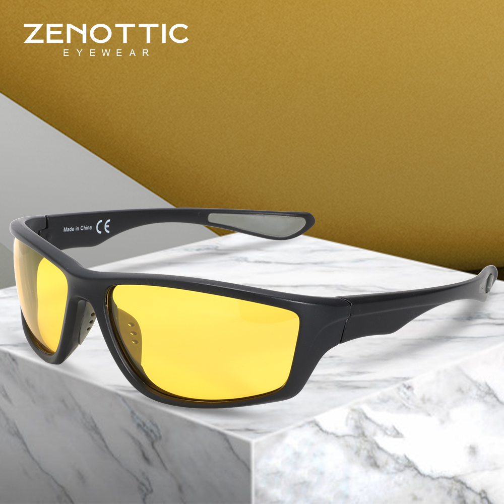 ZENOTTIC Polarized Sunglasses For Men Car Driver Night Vision Goggles Anti-glare Goggles UV400 Protection HD Driving Sun Glasses