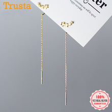 Trustdavis Genuine 925 Sterling Silver Smooth Surface Star CZ Linked 10cm Ear Line For Wome
