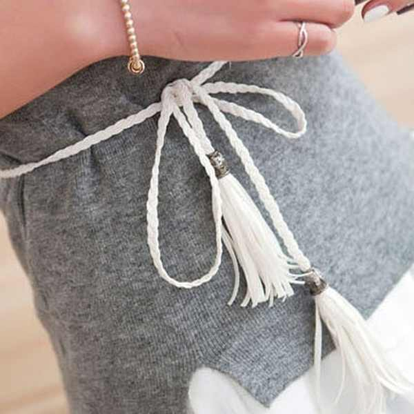 رقيقة بو حزام جلد النساء فستان حزام شرابة هامش سلسلة أحزمة للنساء أحمر بني أسود أبيض أصفر أحزمة وسط
