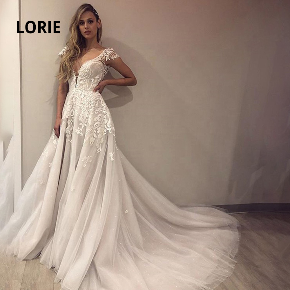 LORIE V-neck Cap Sleeve Wedding Dresses Lace Appliqued Shiny Tulle Backless Bridal Gowns Beach Ivory  Robe De Mariage Plus Size