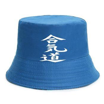Aikido kapelusze wiadro japońska sztuka walki walki walki SZ S-5XL tanie i dobre opinie Cztery pory roku COTTON Stałe Adult CN (pochodzenie) Beach Unisex Ochrona przed słońcem Mieszkanie Bucket Hats Cap men women Unisex