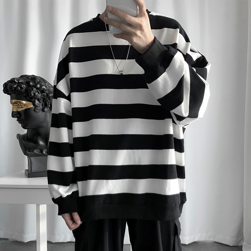 Autumn Thin Section Stripe Couple Bottoming T Shirt  Long Sleeve Brief All-match Streetwear Hip Hop Man Funny White 2019 Clothes