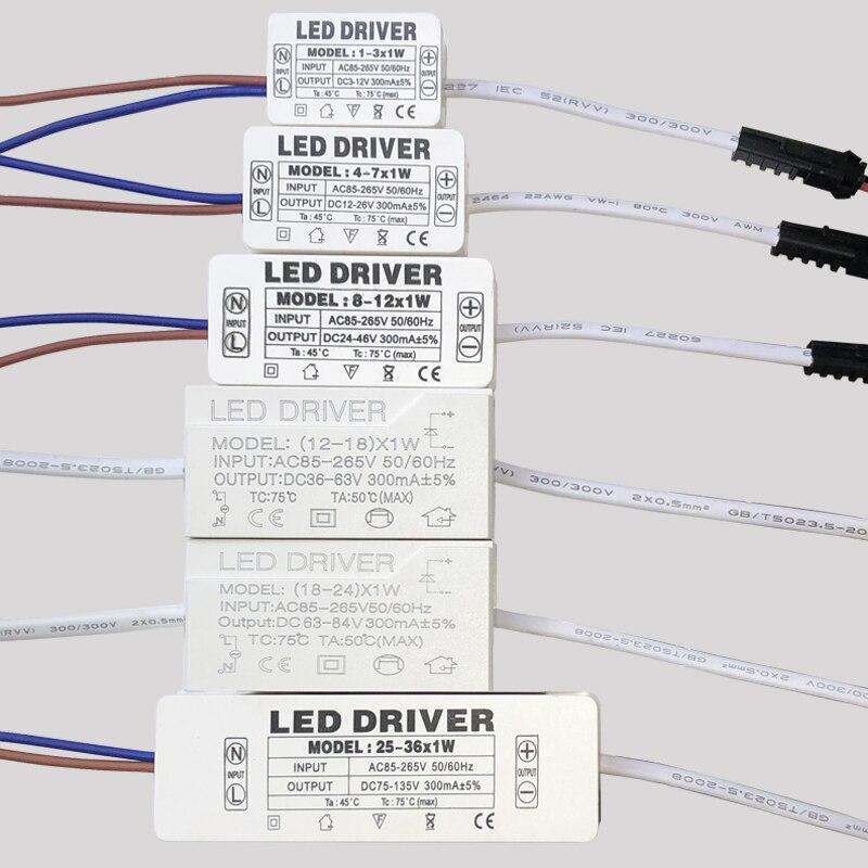 LED Driver 300mA 1W 3W 5W 7W 12W 18W 24W 25W 36W For LEDs Power Supply Unit AC85-265V Lighting Transformers For LED Power Lights