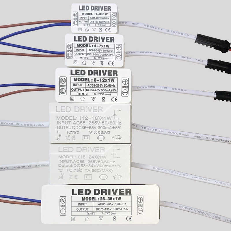 LED Driver 300mA 1W 3W 5W 7W 12W 18W 24W 25W 36W untuk LED Power Supply Unit AC85-265V Transformator Pencahayaan untuk LED Power Lampu