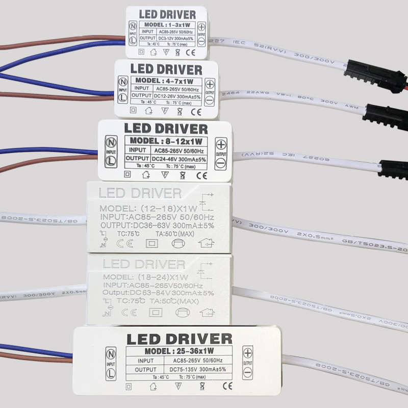 LED Driver 300mA 1W 3W 5W 7W 12W 18W 24W 25W 36W For LEDs Power Supply Unit AC85-265V Lighting Transformers For LED Power Lights