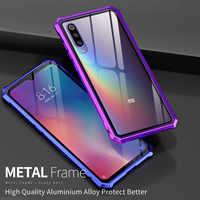 Pare-chocs en métal pour Xiao mi mi 9T Pro étui Alu mi num cadre en verre trempé couverture arrière de téléphone pour Xiao mi redmi K20 Pro mi 9 étui de luxe