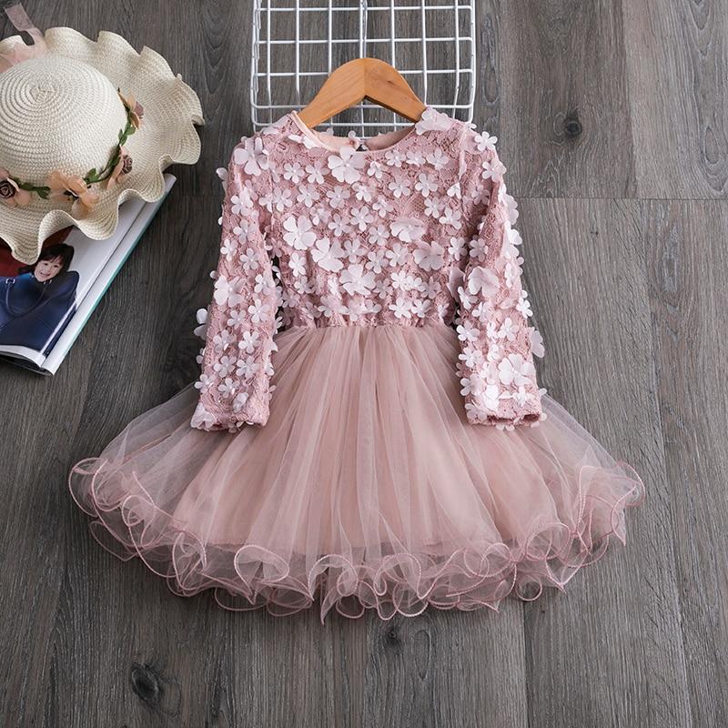Princess New Year Dress For Girls Children's Birthday Party Costume Children Tulle Fabrics Elegant Wedding Gown For 3 4 5 6 7 8T 1