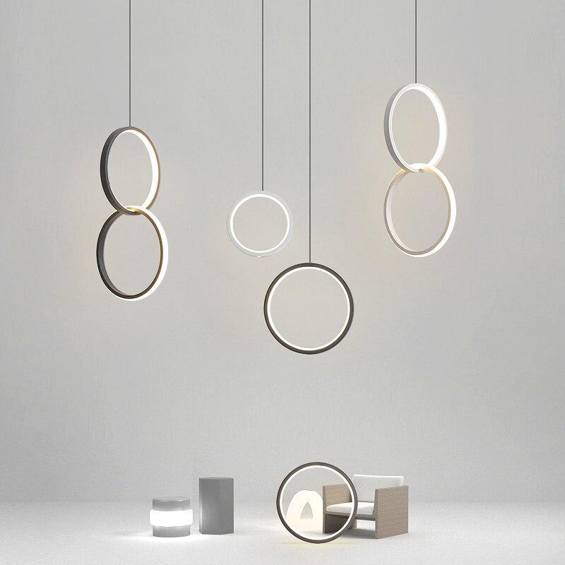 Round Circle LED Pendant Lights for Modern Dining Room Bedroom Bedside Light Hanging Lamp Light