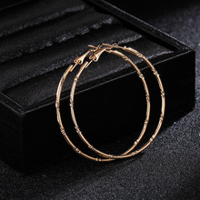 Minimalism Gold Silver Color Thin Bamboo Pattern Carved Circle Hoop Earrings For Women 2019 New Big Brinco Fashion Jewelry