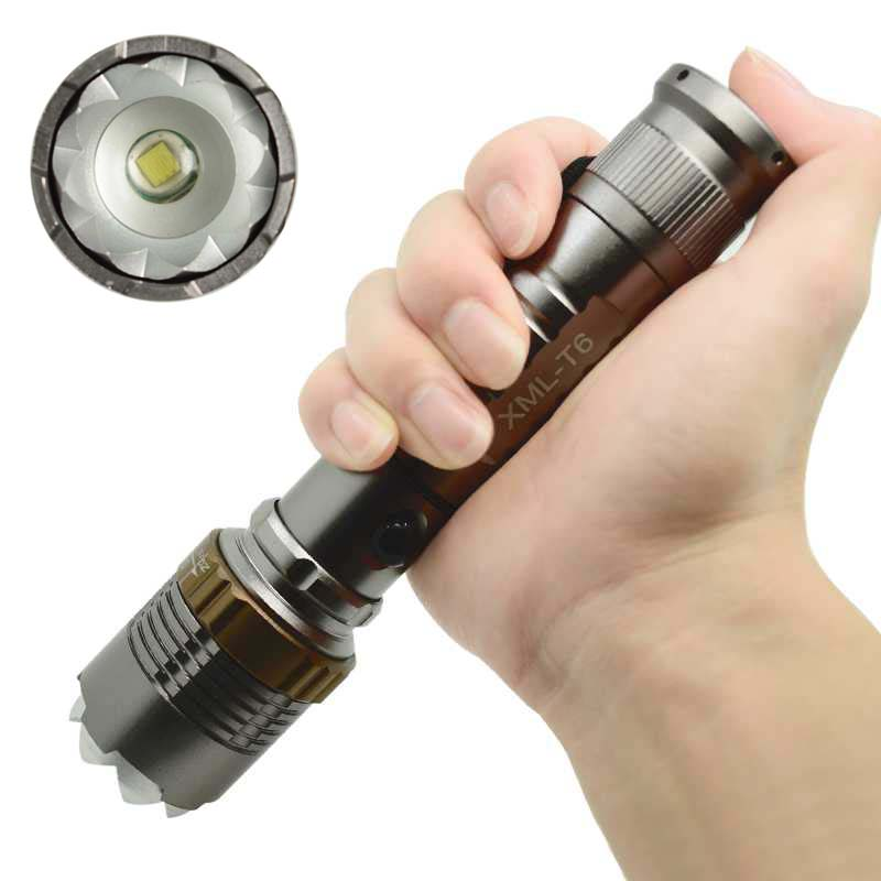 Self Defense Aluminum Alloy Torch 2300 LM XML T6 LED Flashlight Rechargeable 5 Mode Waterproof 18650/AAA Lantern For Camping