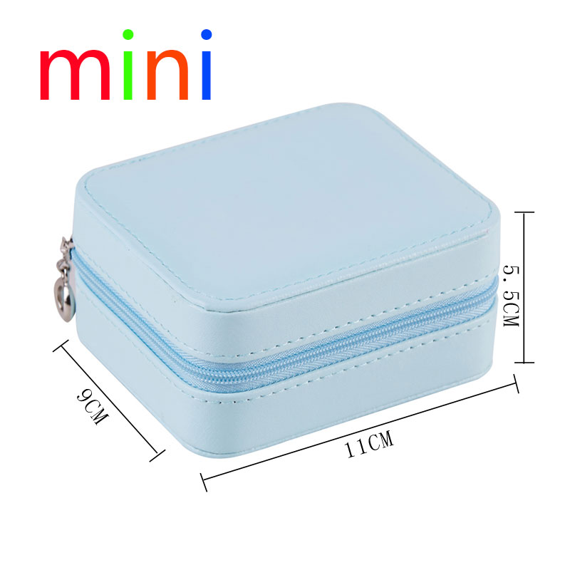 Fast Shipping Korean 3-Storey Girl Earrings Plate Portable PU Earrings Ring Necklace Multi-Function Jewelry Storage Box